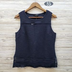 Banana Republic Navy Sleeveless Fringe Blouse